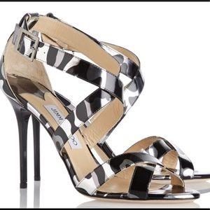 """Jimmy Choo NWOB Camo sandal heels """"Lottie"""" s 37"""